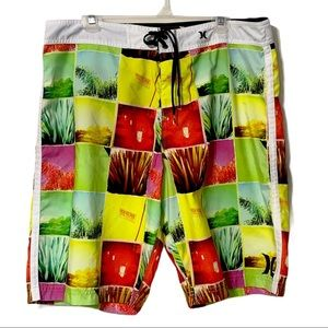 Hurley Mens Shorts Island Scenery Size 36 Laced
